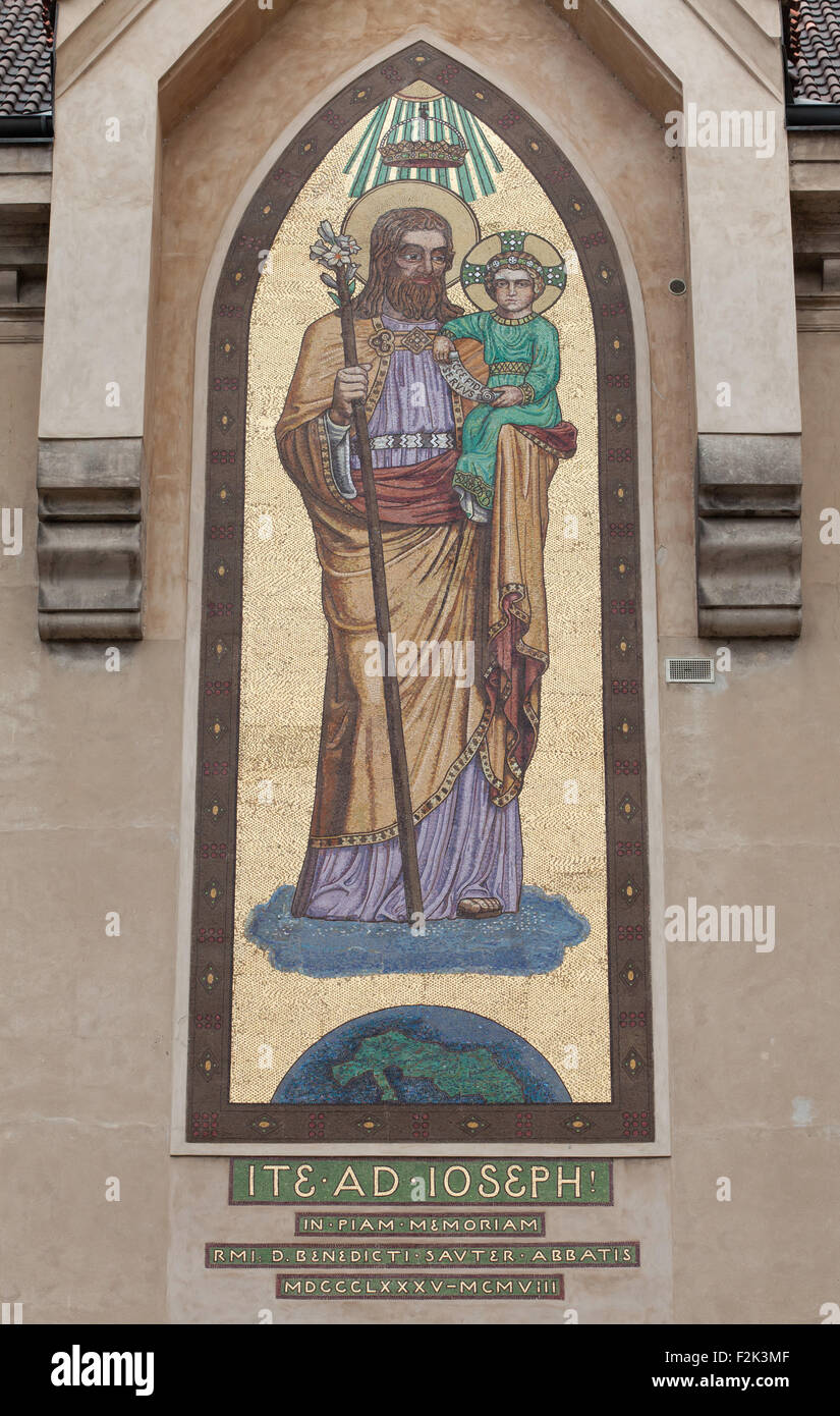 Saint Joseph with the Infant Jesus. Mosaic by the Beuron Art School from 1910 on the Church of Blessed Virgin Mary Stock Photo