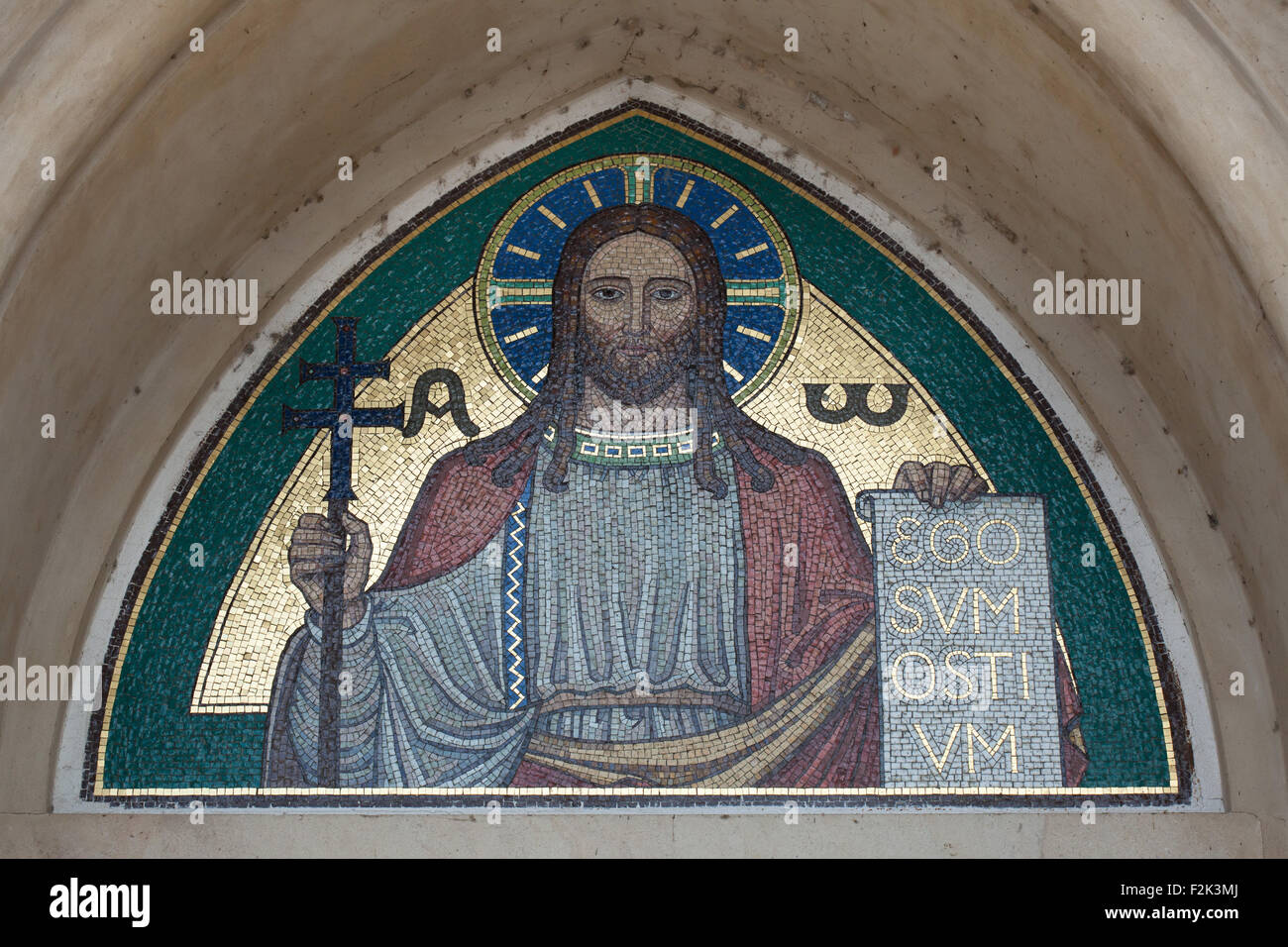 Jesus Christ. Mosaic by the Beuron Art School from the 1910s over the main entrance to the Church of Blessed Virgin Mary and the Slavic Saints of the Emmaus Monastery (Na Slovanech) in Prague, Czech Republic. Stock Photo