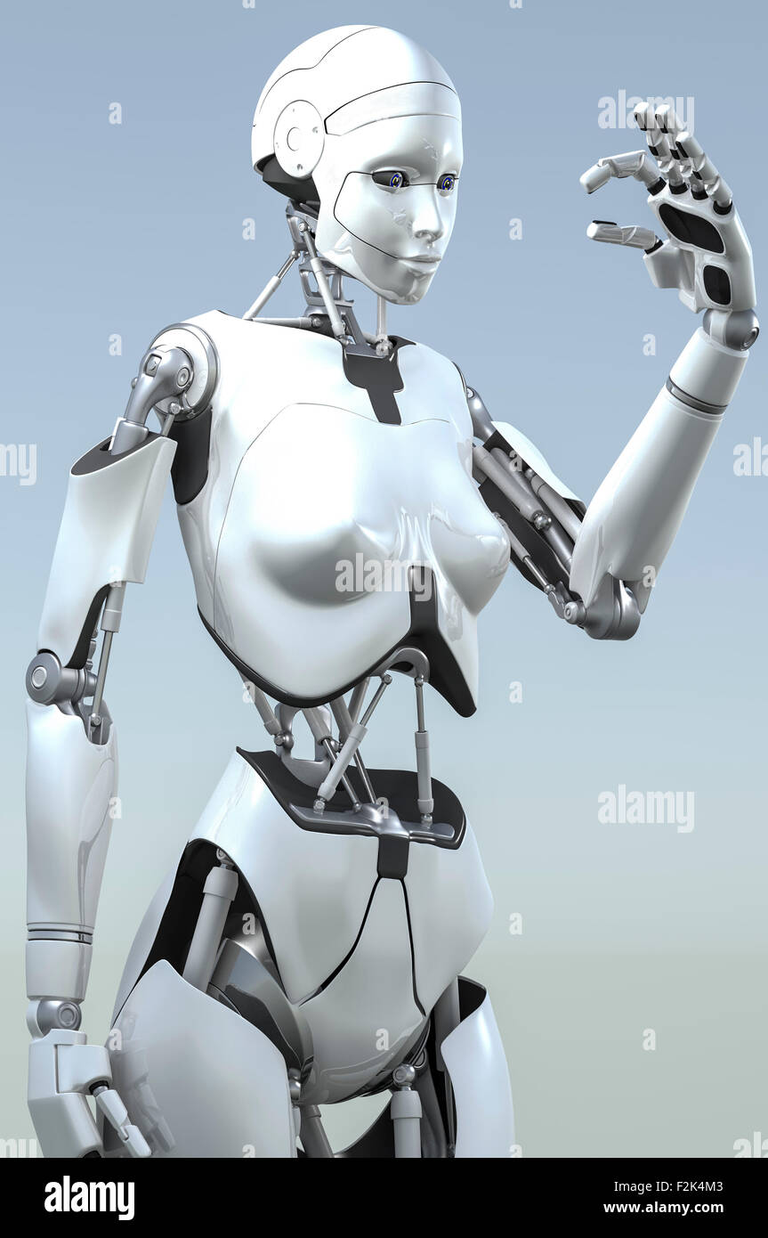 Female humanoid robot studying thing between forefinger and thumb of its left hand. - Stock Image
