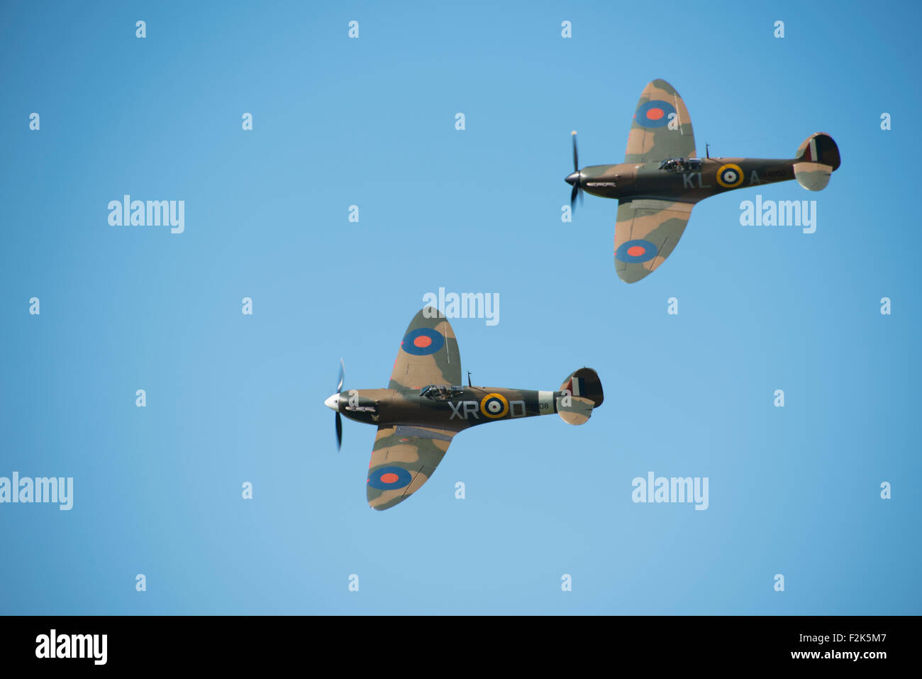 Duxford, UK. 20th Sep, 2015. Hurricanes at the Duxford Battle of Britain airshow, Sunday 20th Sept 2015. Credit: - Stock Image