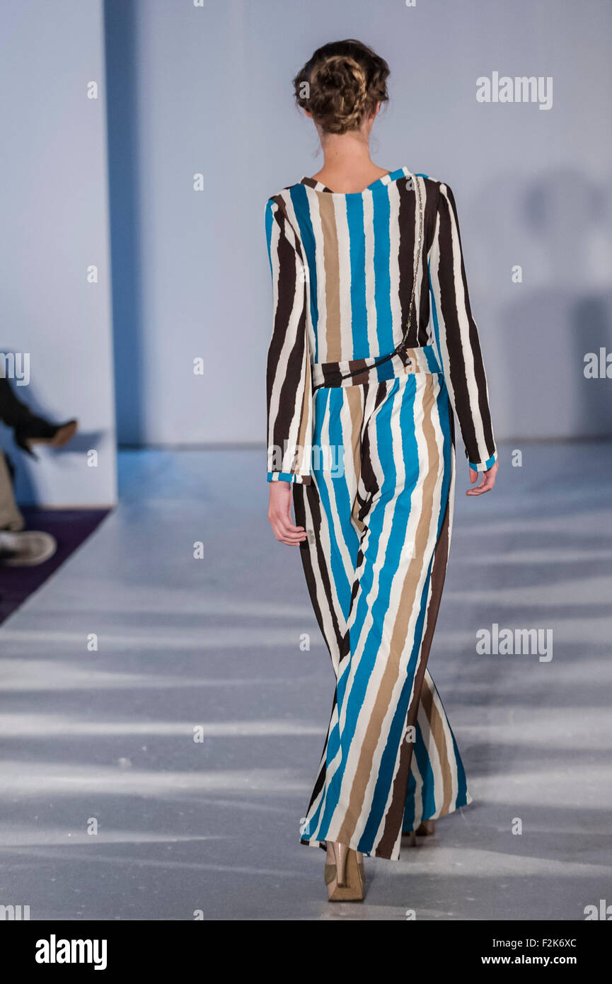 London, UK.  20 September 2015.  A model wears a look by the designer Yesterday Today Tomorrow at Fashion Finest's - Stock Image