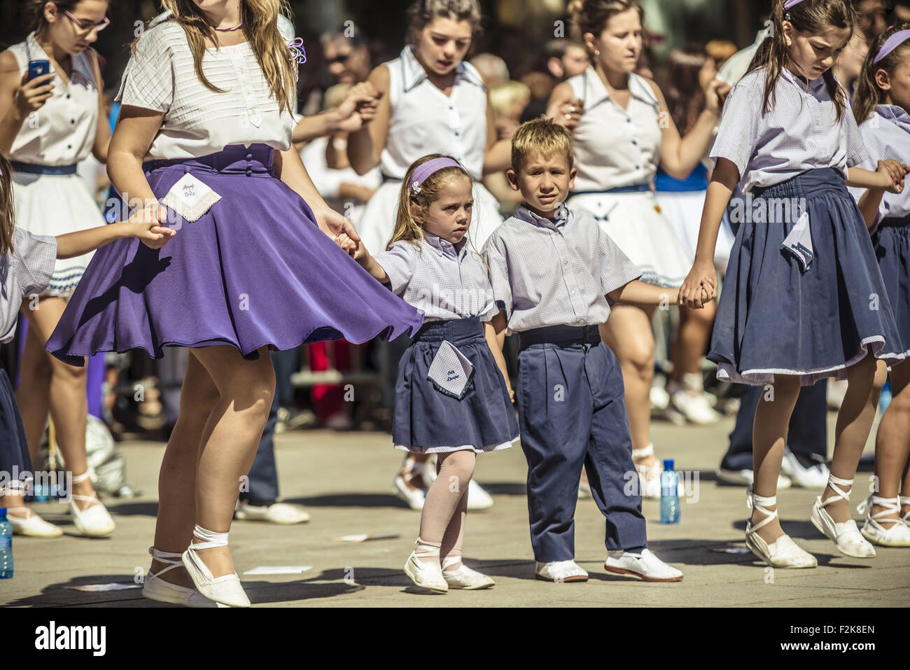 Barcelona, Catalonia, Spain. 20th Sep, 2015. Dancers take part in the 65th edition of the 'Sardanes groups' competition Stock Photo