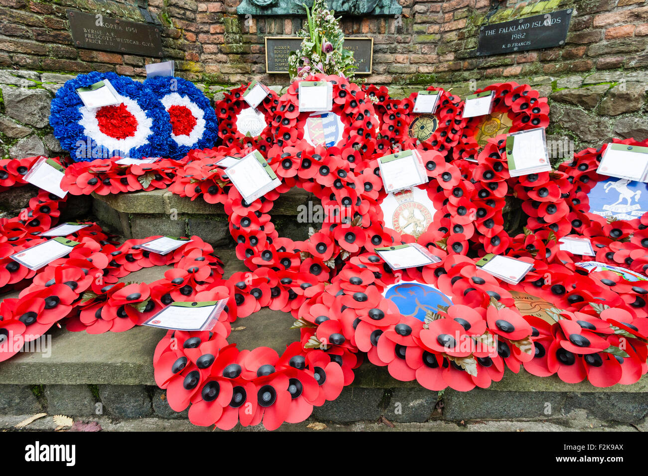 Remembrance Sunday in Britain in November to commemorate the dead of both world wars and other conflicts. Wreaths - Stock Image
