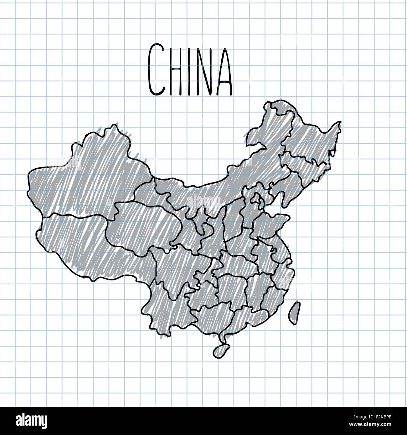 Pencil hand drawn China map vector on paper illustration - Stock Vector
