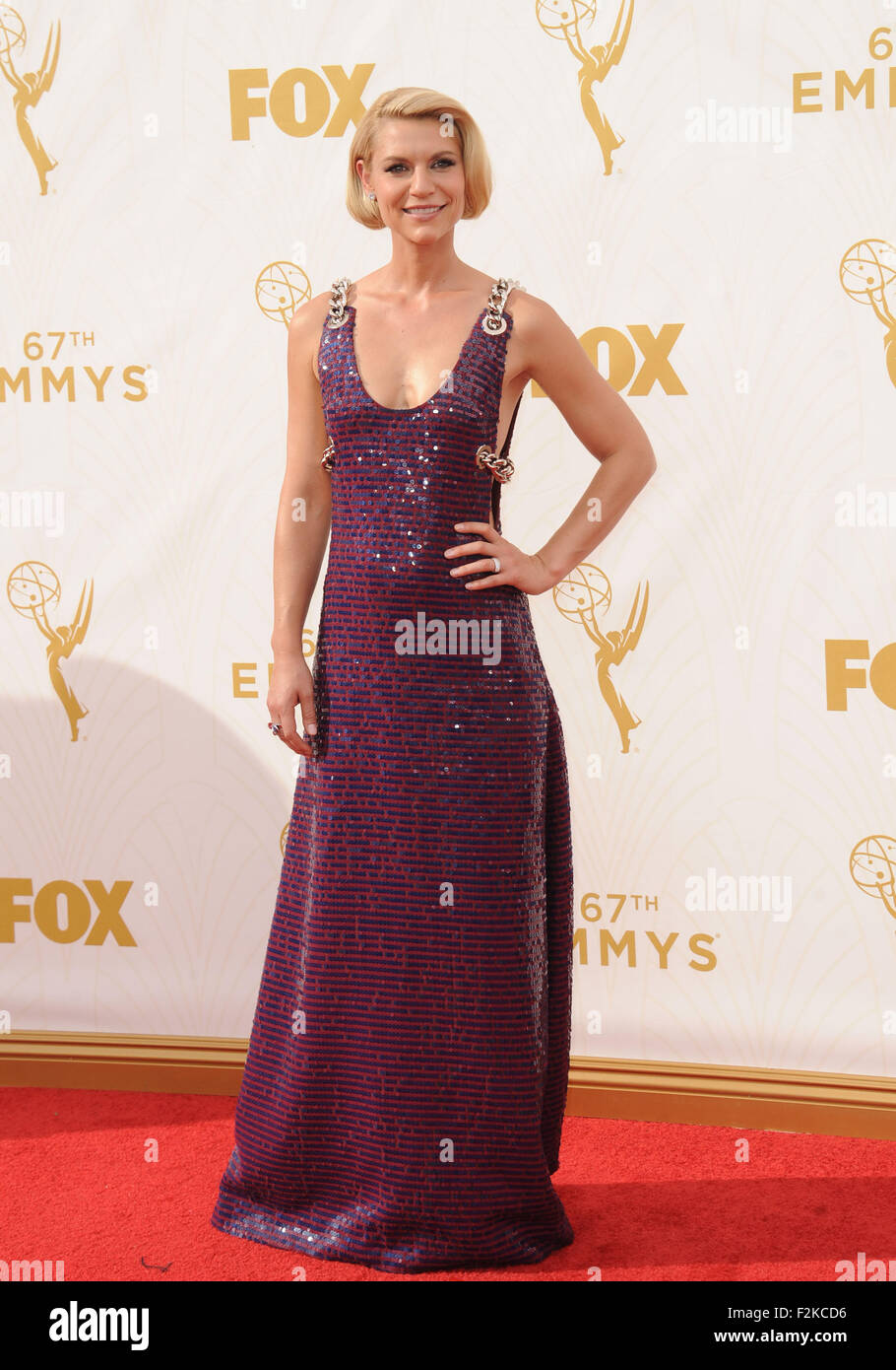 Los Angeles, California, USA. 20th Sep, 2015. Claire Danes attending the 67th Annual Primetime Emmy Awards - Arrivals - Stock Image