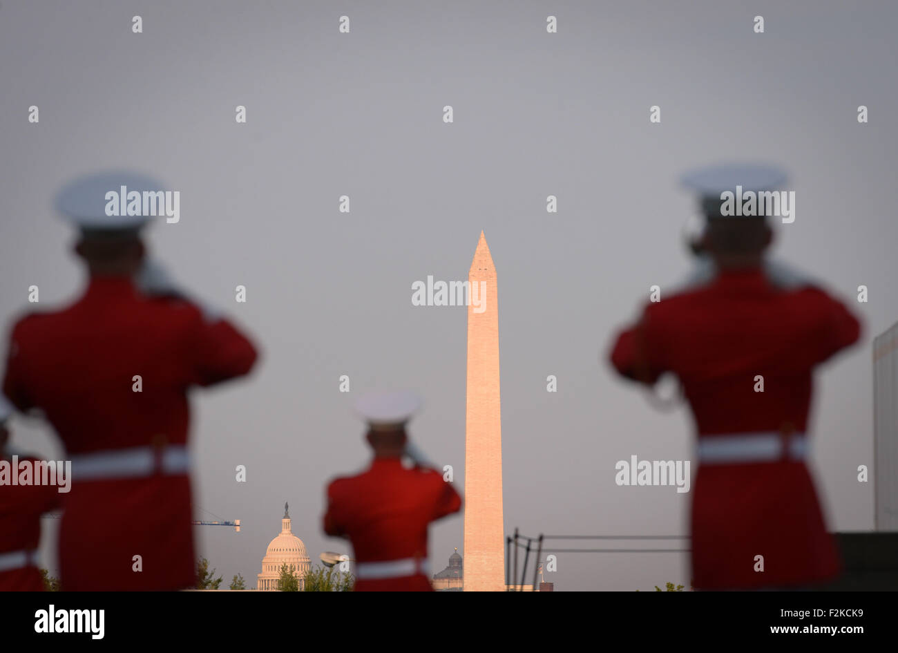 (150921) -- WASHINGTON D.C., Sept. 21, 2015 (Xinhua) -- File photo taken on July 22, 2014 shows the military band - Stock Image