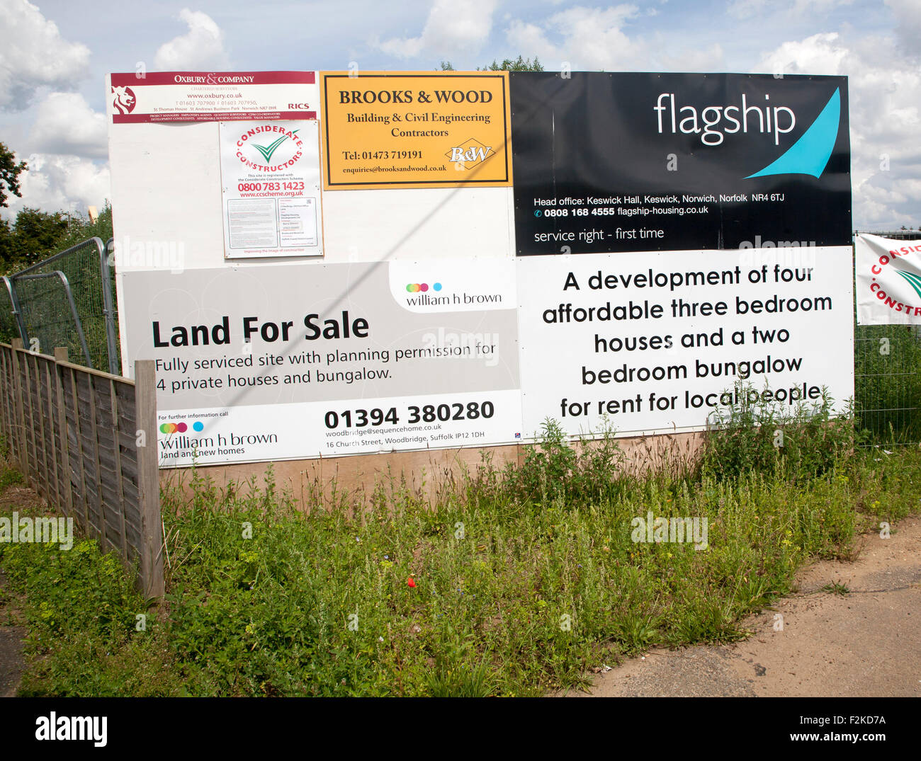 Sign for Flagship new affordable housing being constructed, Sutton, Suffolk, England, UK - Stock Image