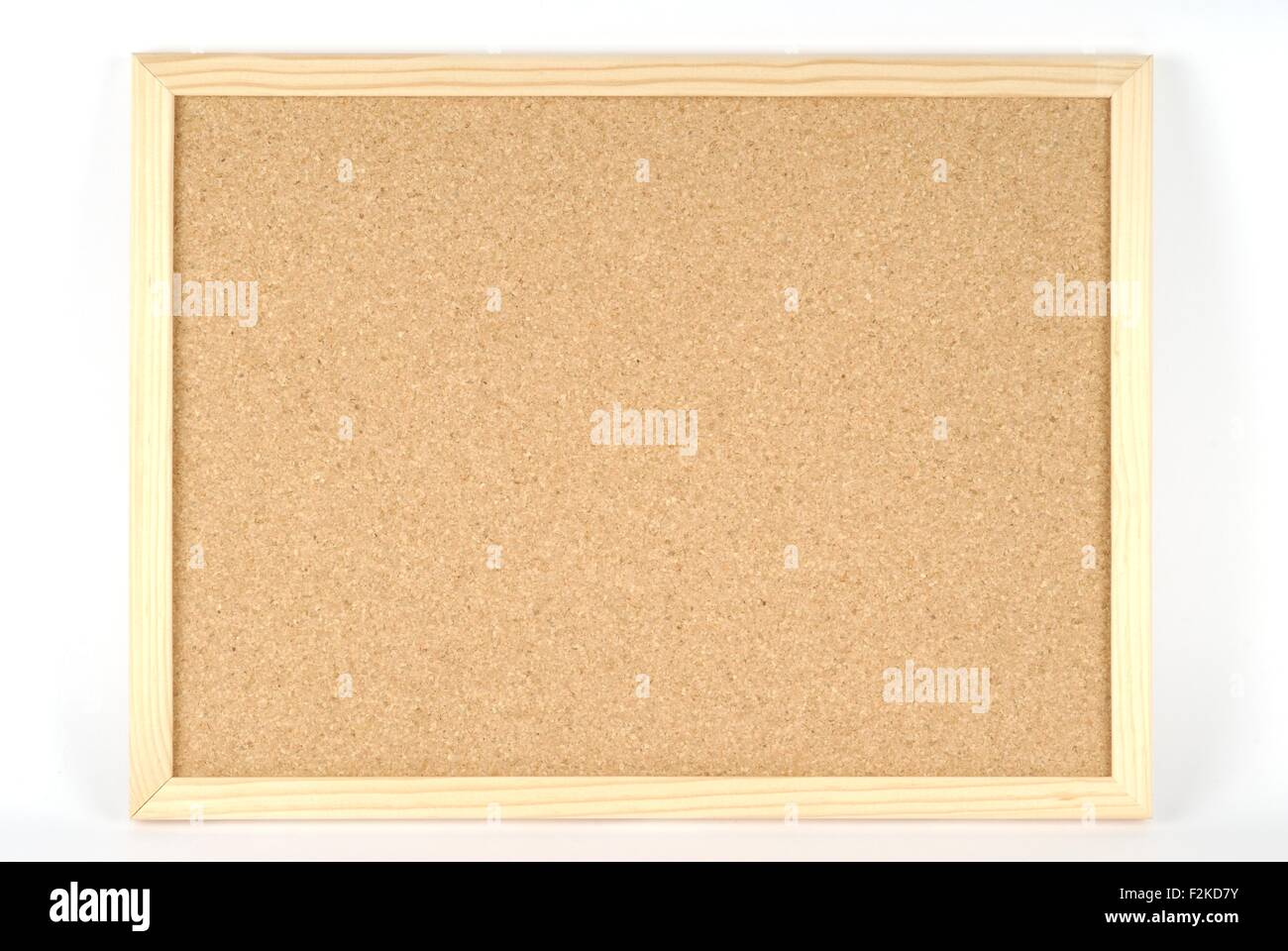 cork board for announcements on white background - Stock Image