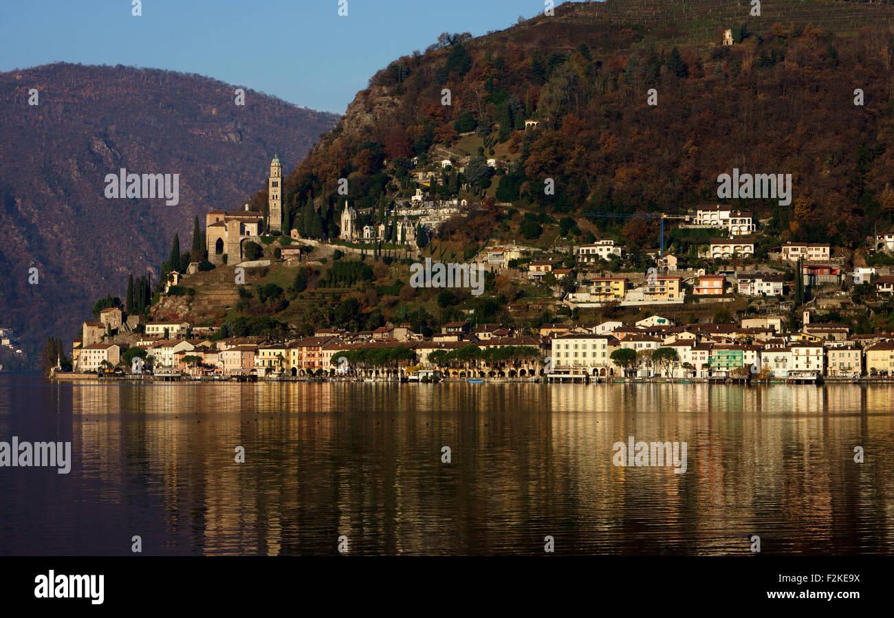 Morcote lake Lugano, autumn, Tessin, Scwitzerland Stock Photo