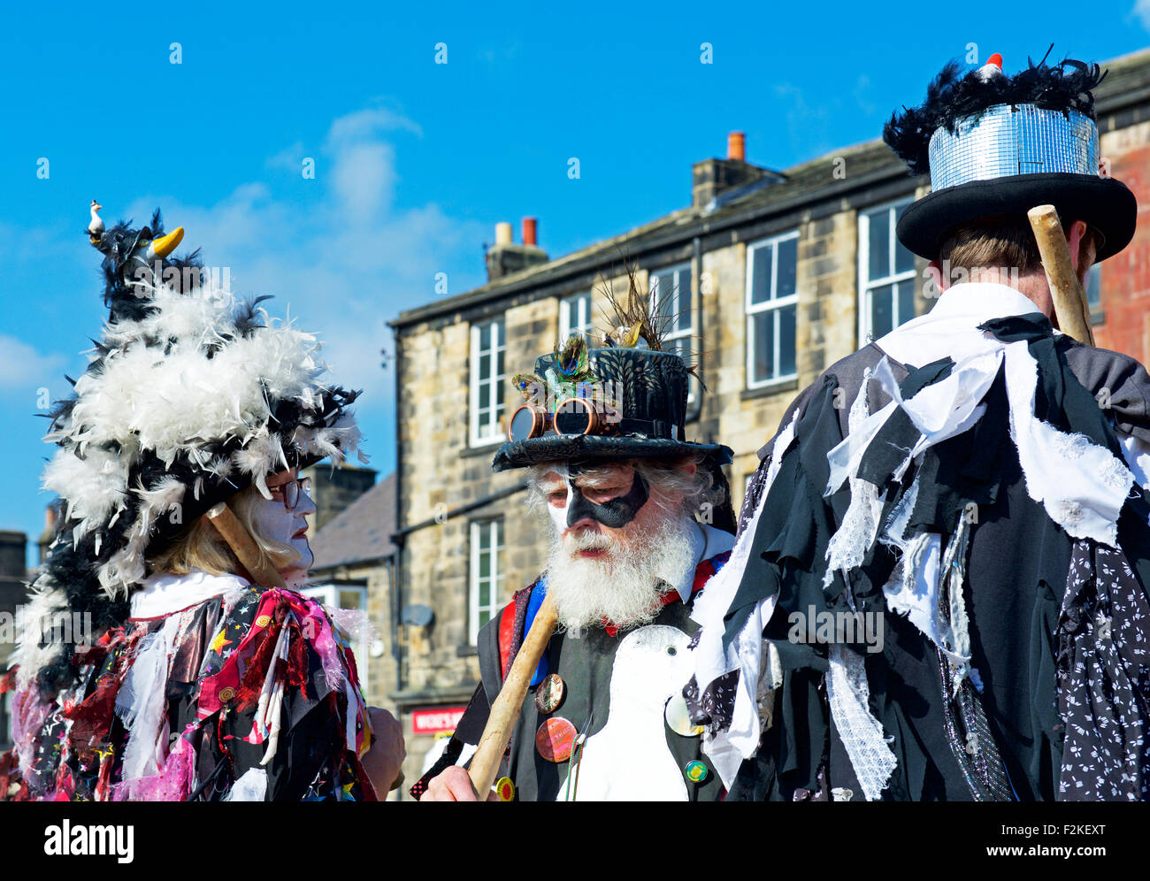 Members of the Wayzgoose Morris Dancing Troupe, performing at the Otley Folk festival, West Yorkshire, England UK - Stock Image