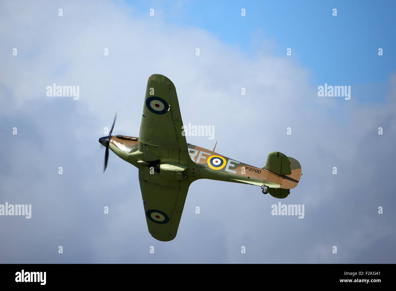 Spitfires and Hurricanes commemorate the 75th Anniversary of the  Battle of Britain at Goodwood Aerodrome - Stock Image