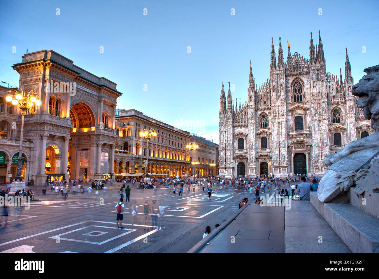 View of Piazza del Duomo in Milan, Italy - Stock Image
