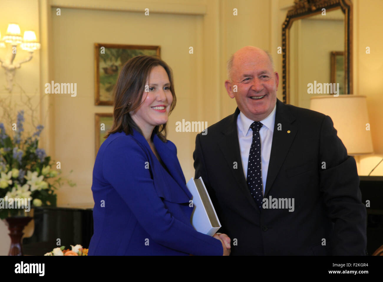 Canberra, Australia. 21st Sep, 2015. Kelly O'Dwyer (L) is sworn in as Minister for Small Business by Governor - Stock Image