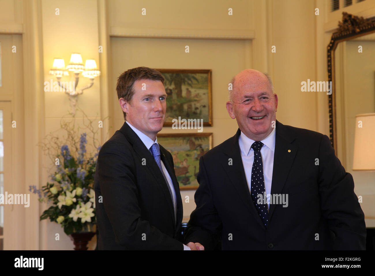 Canberra, Australia. 21st Sep, 2015. Christian Porter (L) is sworn in as Minister for Social Services by Governor - Stock Image