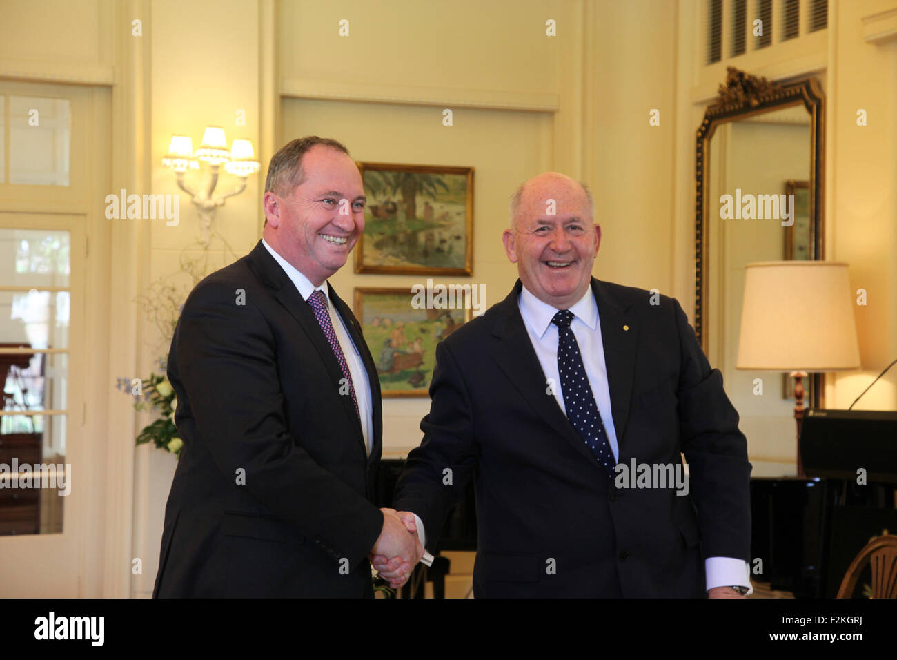 Canberra, Australia. 21st Sep, 2015. Barnaby Joyce (L) is sworn in as Minister for Agriculture and Water by Governor - Stock Image
