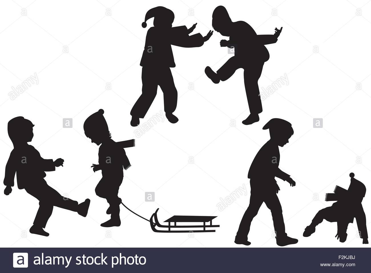Silhouettes of children playing in the winter - Stock Vector