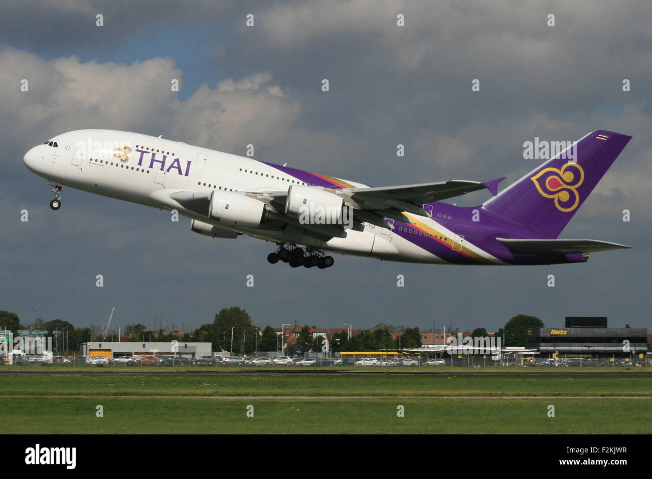 THAI A380 TAKE OFF BLUE SKY ROTATE - Stock Image