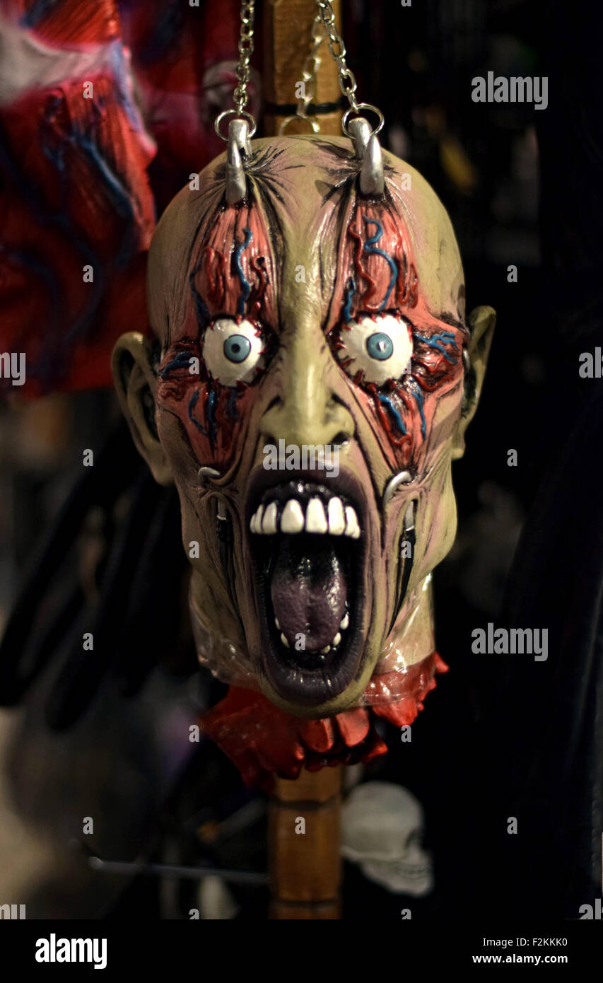 A very frightening rubber mask for sale at a large costume store in Greenwich Village, New York City - Stock Image