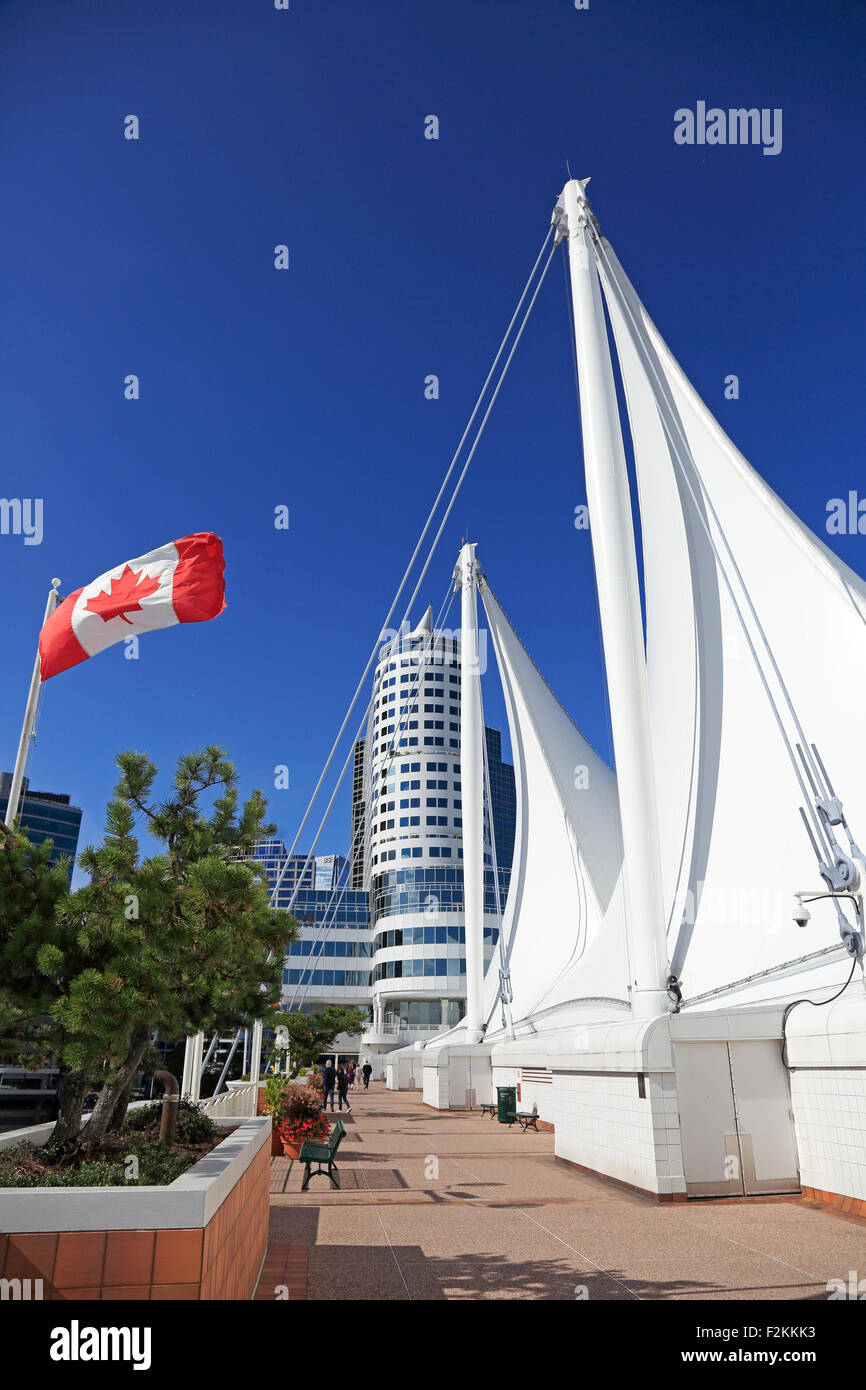 Canada Place Vancouver and Canadian Flag - Stock Image