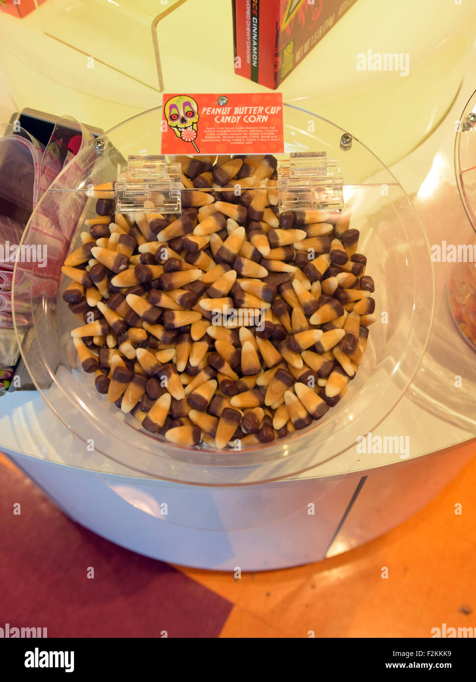 Peanut Buttercup candy corn for sale by the pound at IT'SUGAR candy shop on Broadway in Greenwich Village, New - Stock Image