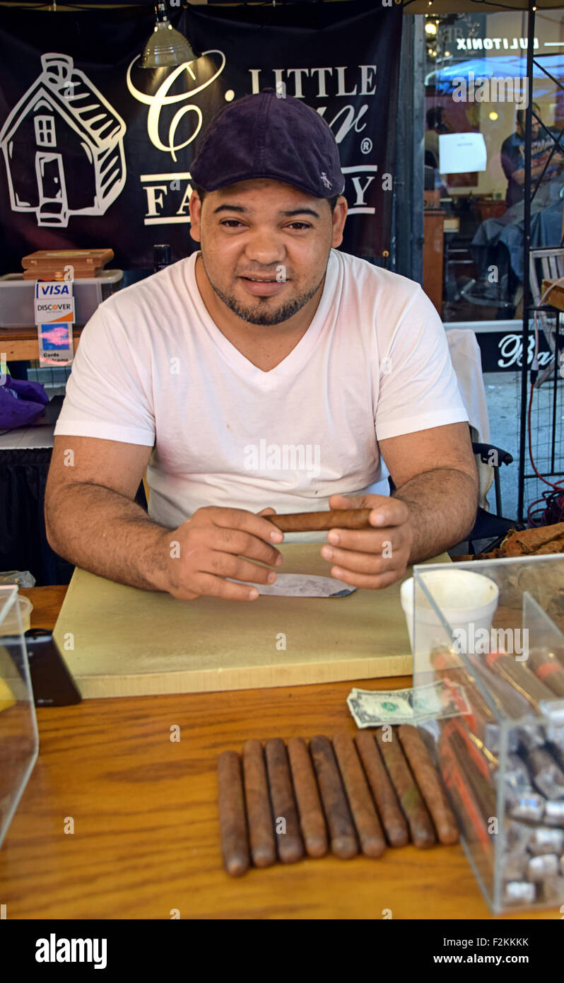 Portrait of a Dominican cigar maker at the San Gennaro Festival in Little Italy, Manhattan, New York City - Stock Image