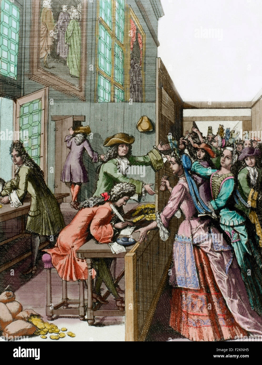 History of France. 18th century. Tributes to the King. French people paying their taxes. Engraving. Colored. - Stock Image