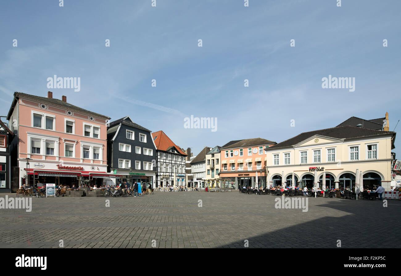 Marketplace with sidewalk cafe, Unna, Ruhr district, Westphalia, North Rhine-Westphalia, Germany - Stock Image