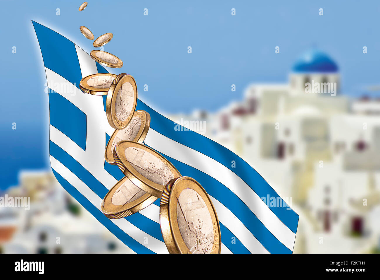 Symbolic picture, Greece, Grexit, banking crisis, Euro coins, flag, Santorini in background - Stock Image