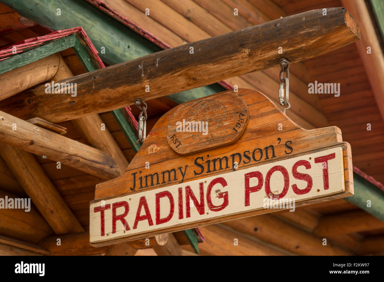 Sign at the historical Num-Ti-Jah Lodge and trading post in Banff National Park, Rocky Mountains, Alberta, Canada, - Stock Image