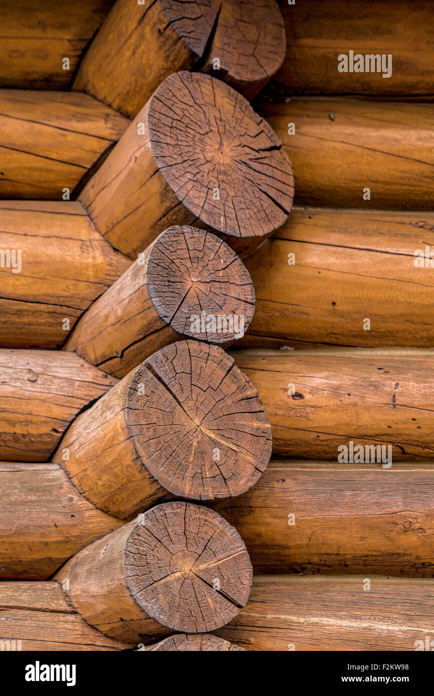 Architectural detail of Num-Ti-Jah Lodge & trading post in Banff National Park, Rocky Mountains, Alberta, Canada, - Stock Image