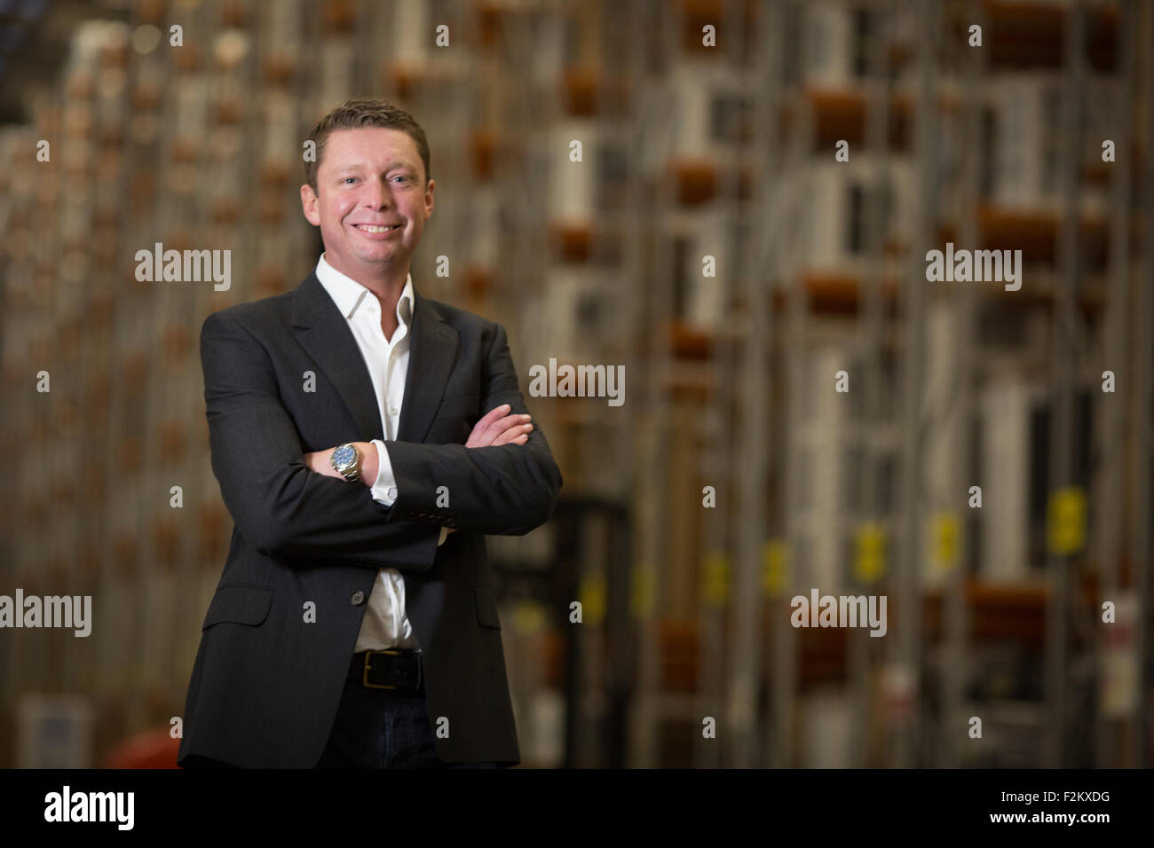 AO CEO John Roberts portraits at the Crewe cheshire distribution centre - Stock Image