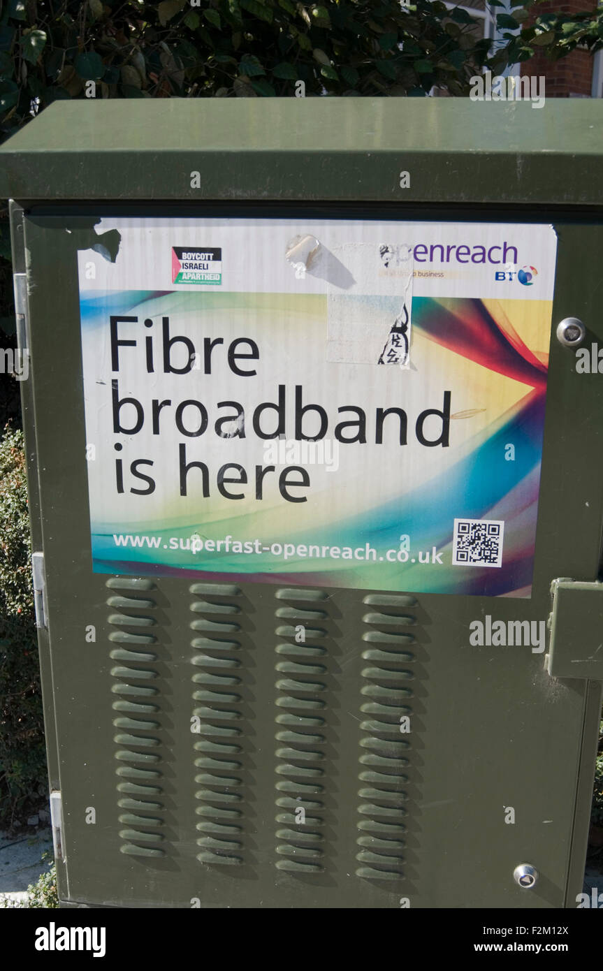 high speed broadband Internet access fiber optic bt enreach super fast superfast network networks rural business - Stock Image