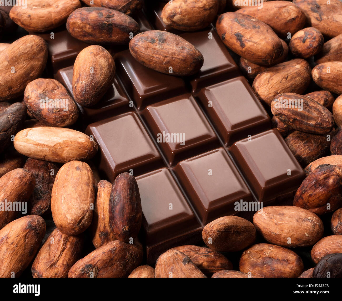 Cocoa beans and chocolate bar. - Stock Image