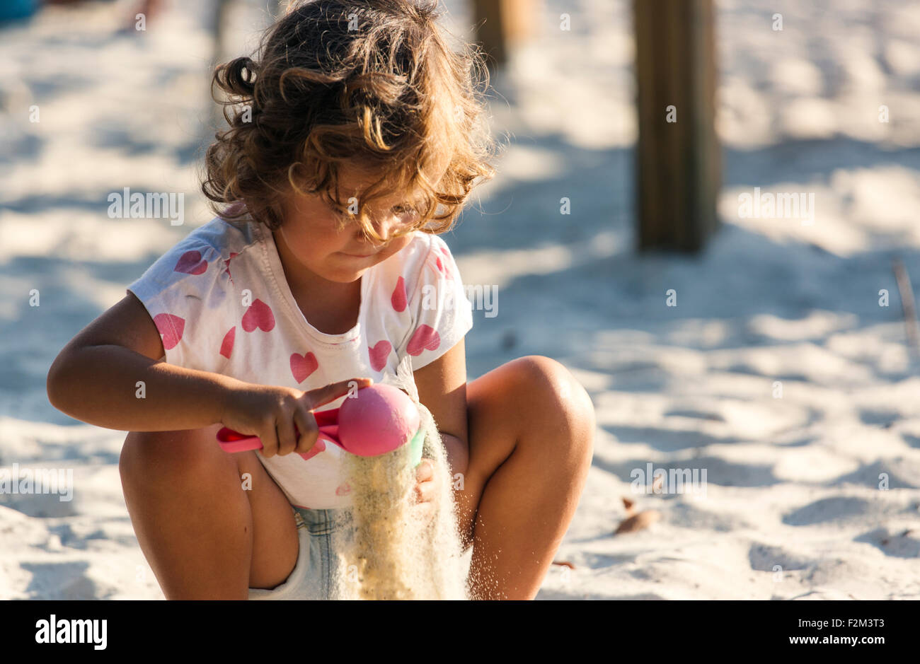 Little girl playing in sandbox on playground - Stock Image