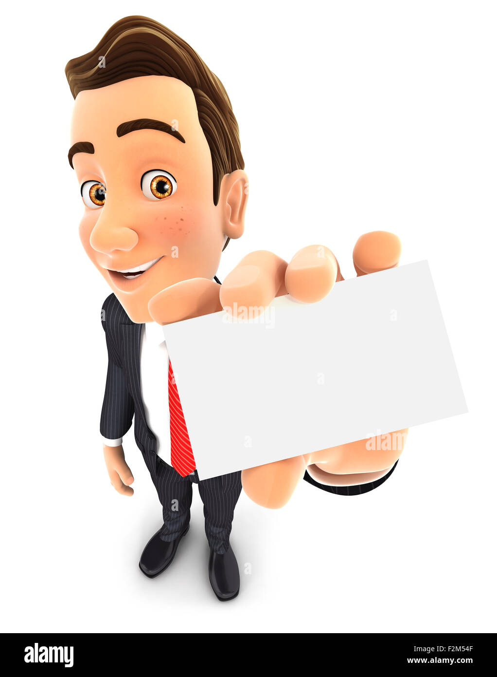 3d businessman holds business card, isolated white background Stock Photo