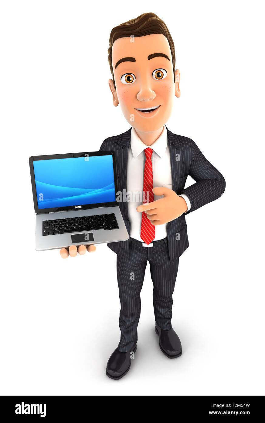 3d businessman laptop, isolated white background Stock Photo