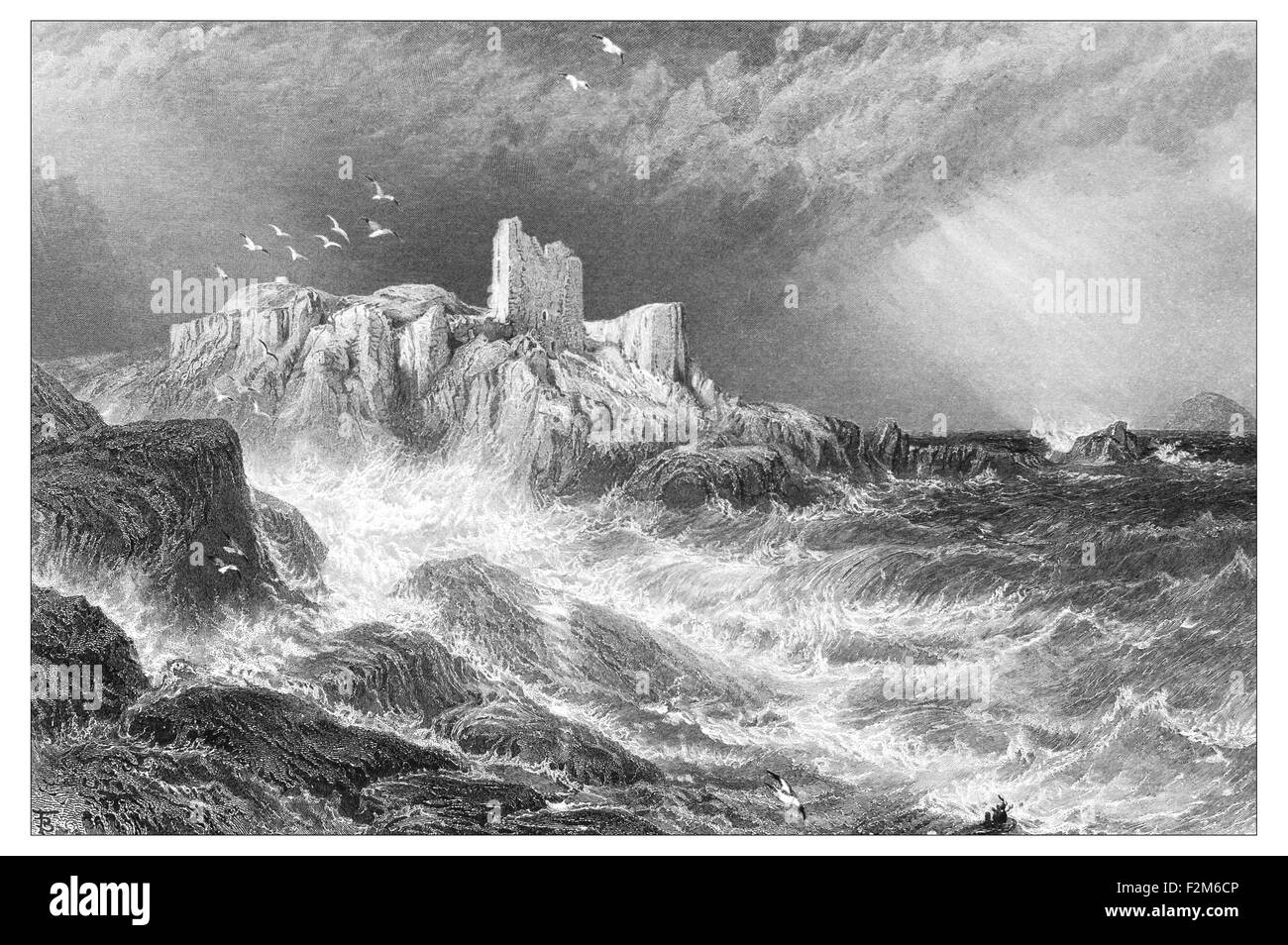 Rubble remains of Turnberry Castle _Illustration from 'The British isles - Cassell Petter & Galpin Part - Stock Image