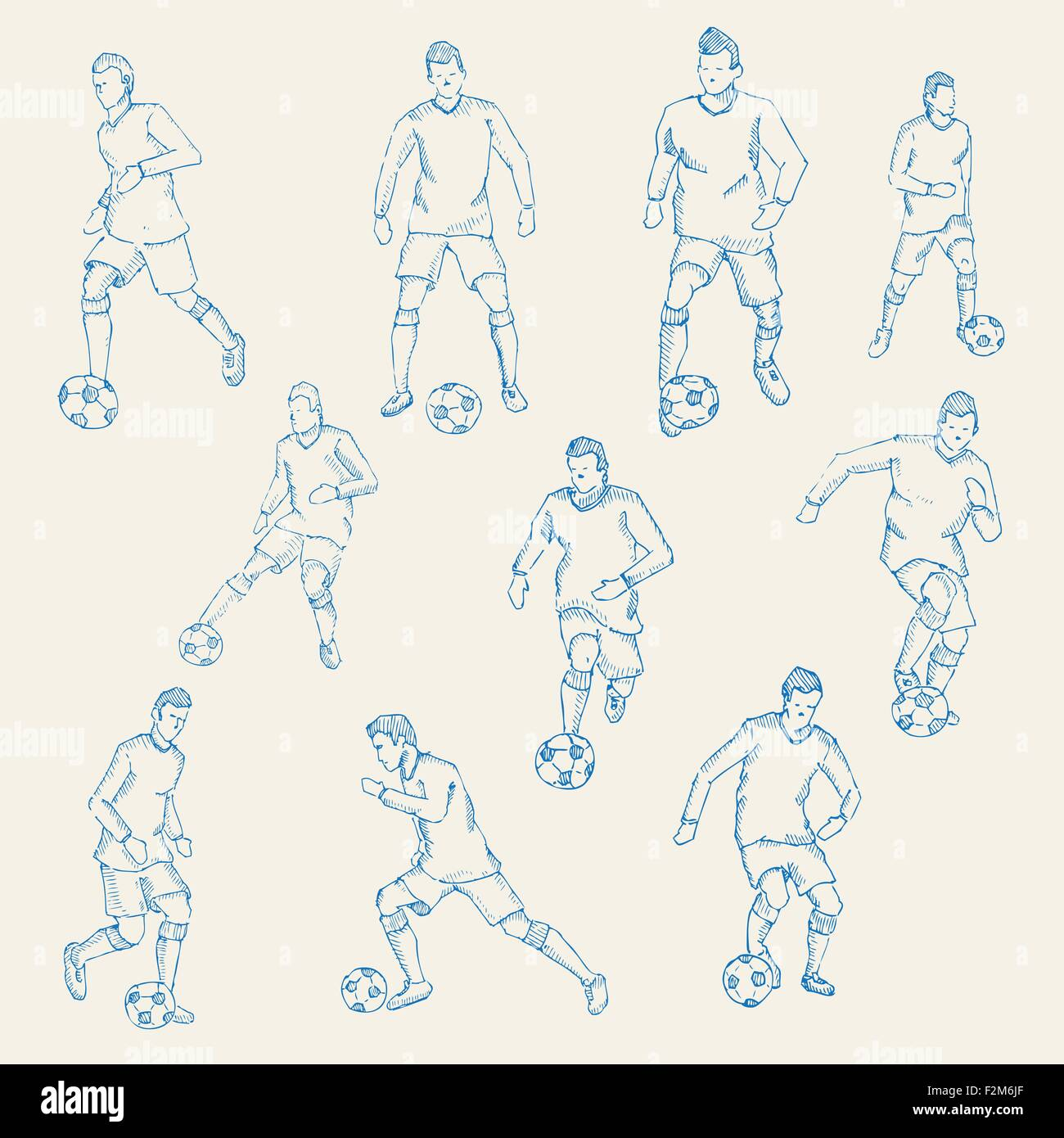 Hand drawn sketch football socer player action