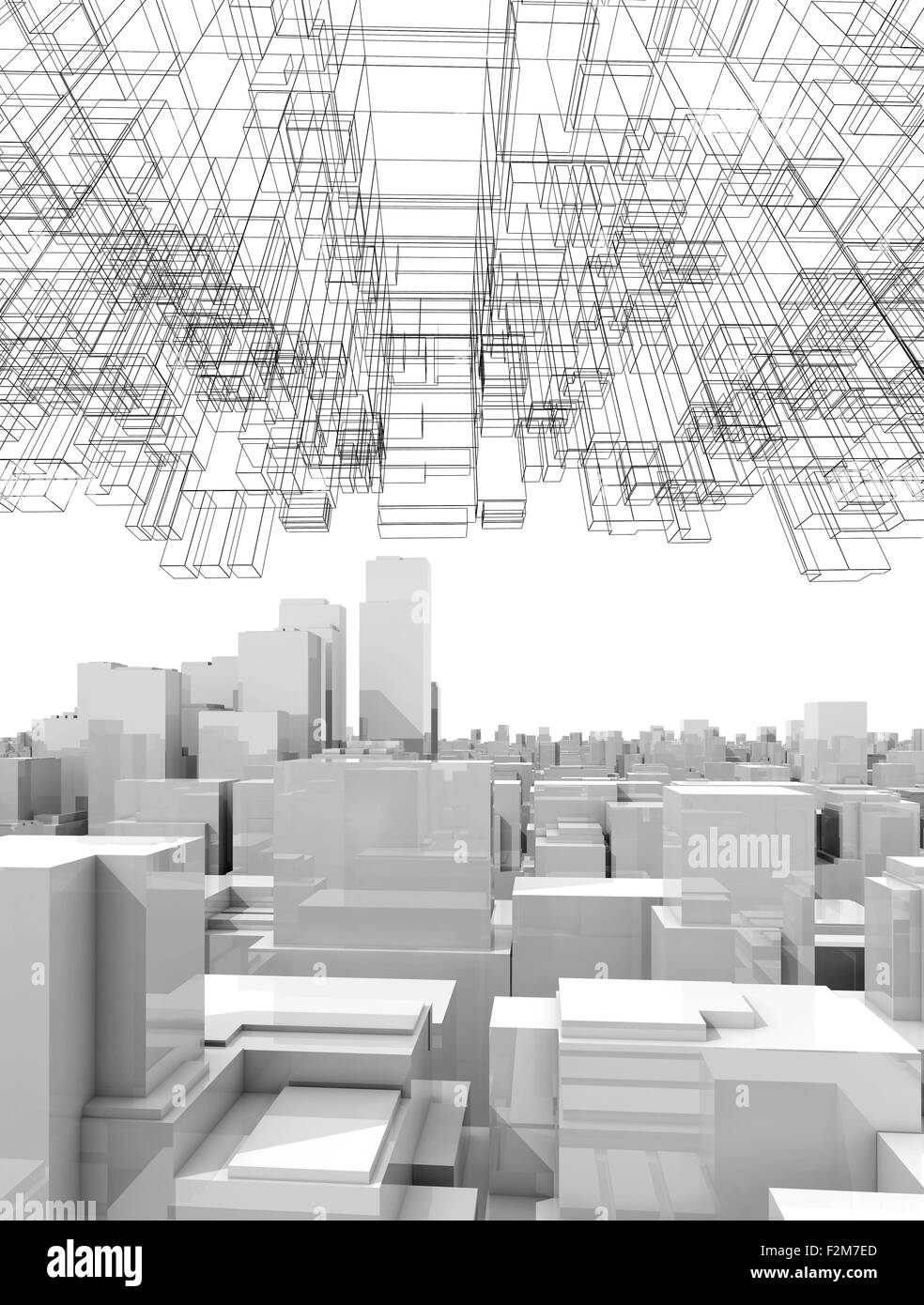 White Digital Cityscape With Tall Skyscrapers And Abstract Wire Picture Frame Diagram Structure In The Sky 3d Illustration