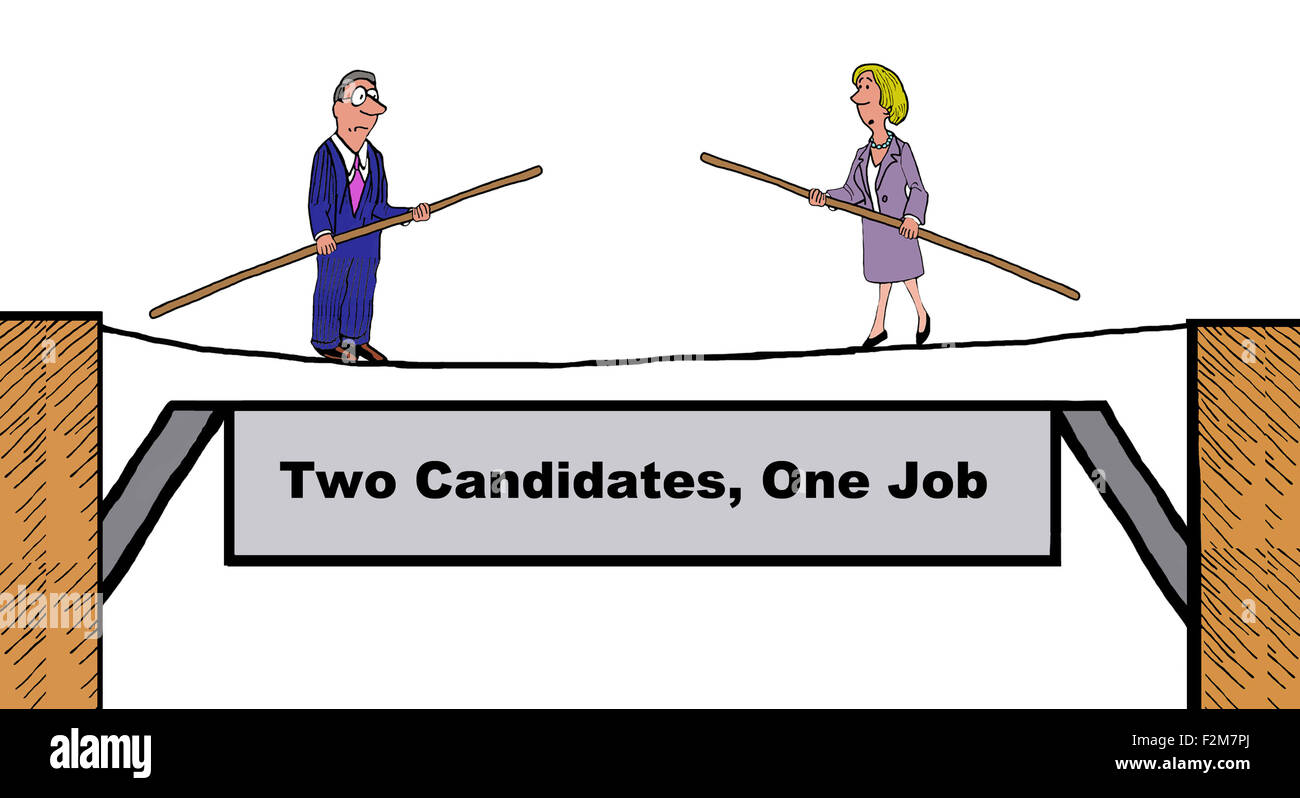 Business illustration showing two people on a tightrope, 'Two candidates, one job'. - Stock Image