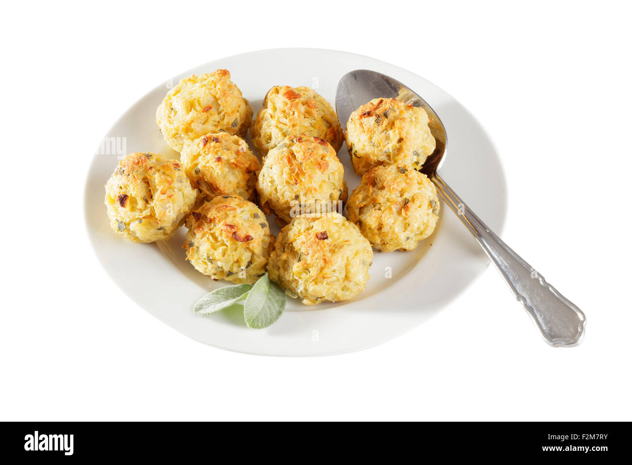 freshly baked sage and onion stuffing balls - Stock Image