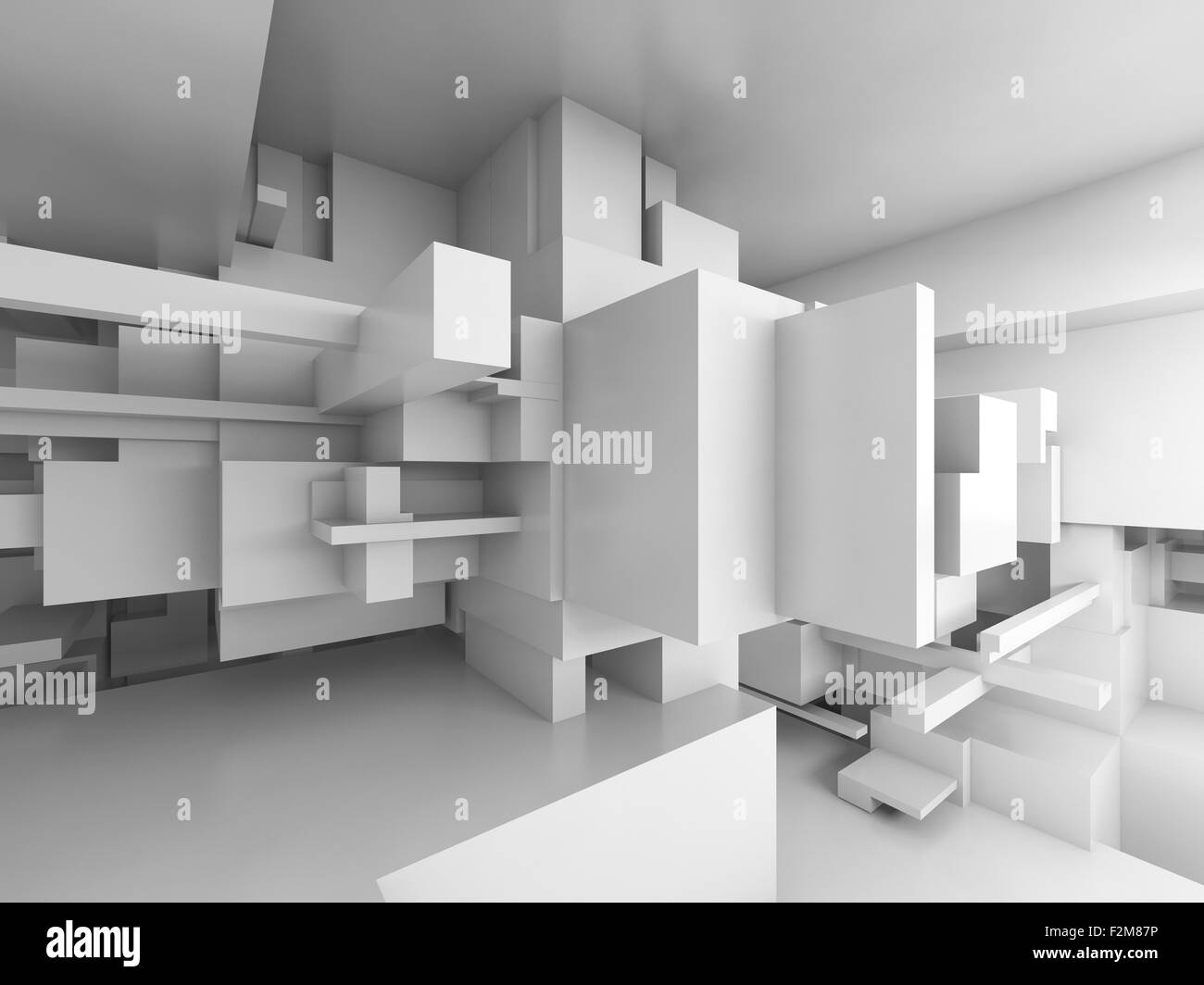 Abstract empty white room interior with chaotic cubes constructions, high-tech concept, 3d illustration - Stock Image
