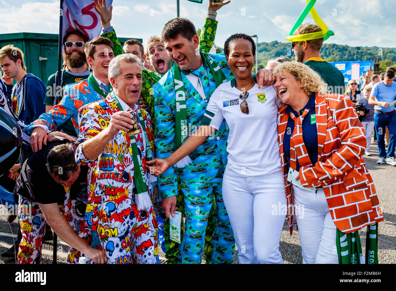 South African Rugby Fans Arrive To Watch Their Team Play Japan In Their Opening Match of The 2015 Rugby World Cup, - Stock Image