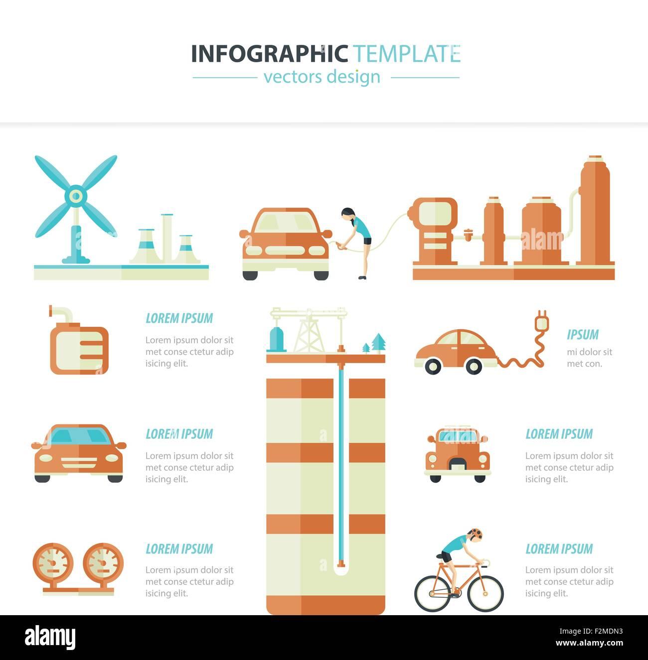 Eco car infographic - Stock Image