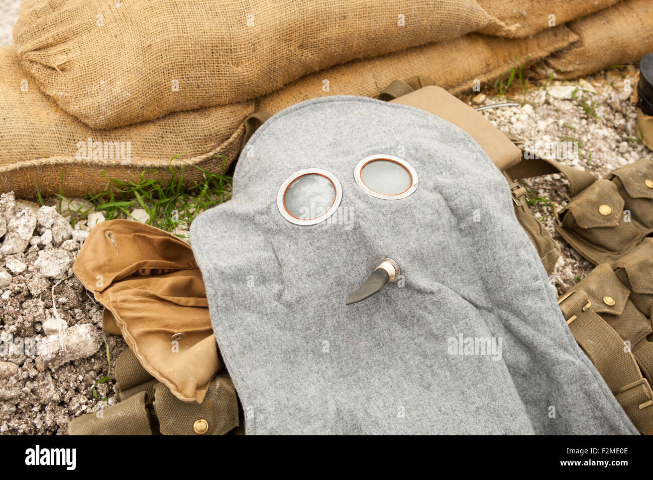 World War One gas mask or respirator. Not real but replica. With sandbags. - Stock Image