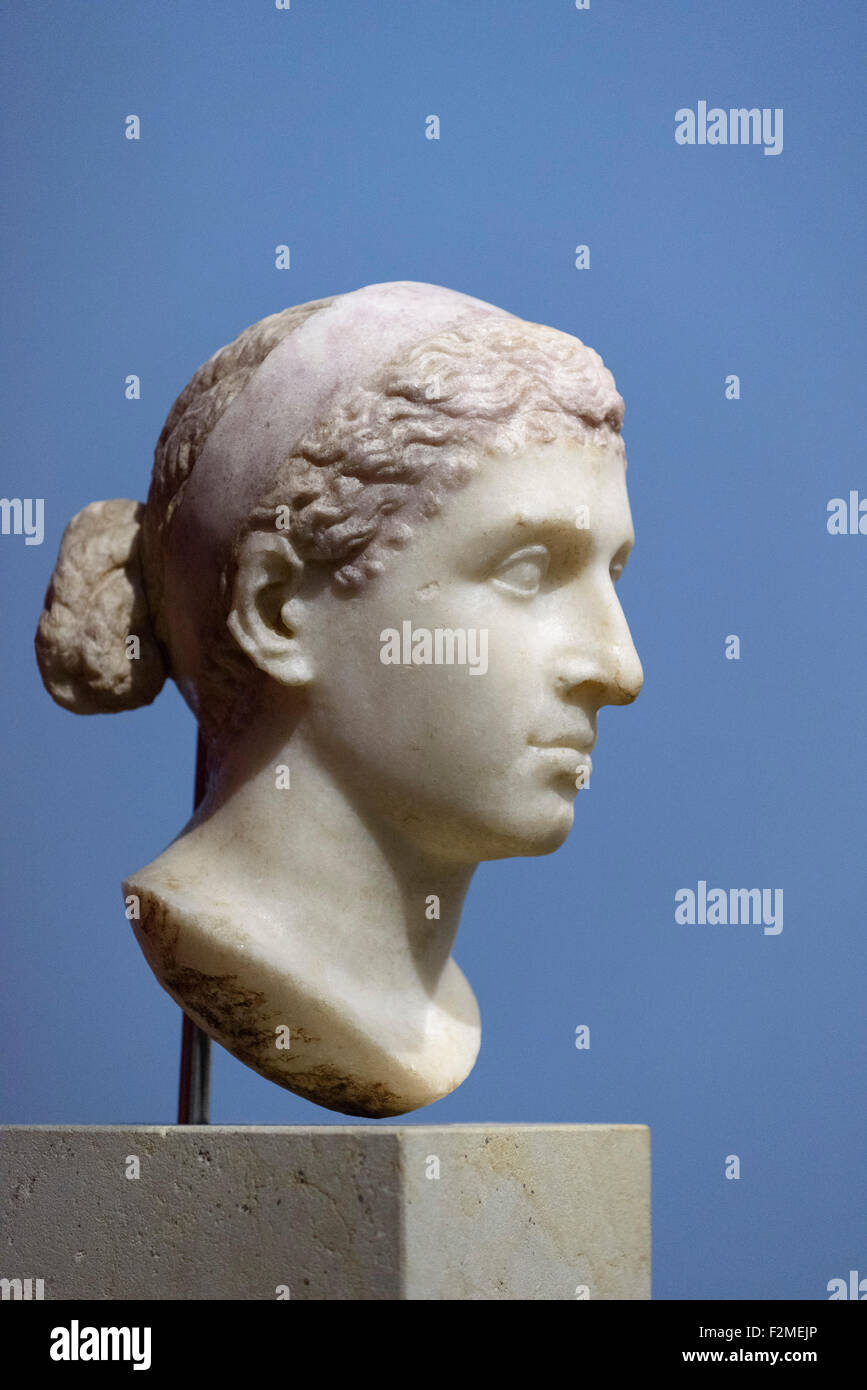 Berlin. Germany. Portrait of Cleopatra VII, 40-30 BC, Altes Museum. - Stock Image