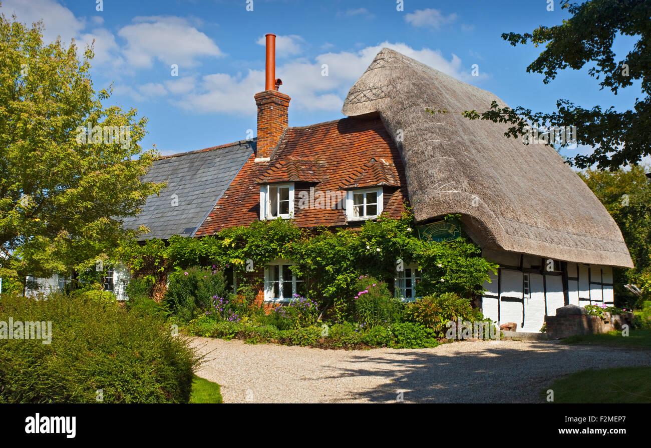Thatched Cottage, Cheriton, Hampshire, England Stock Photo
