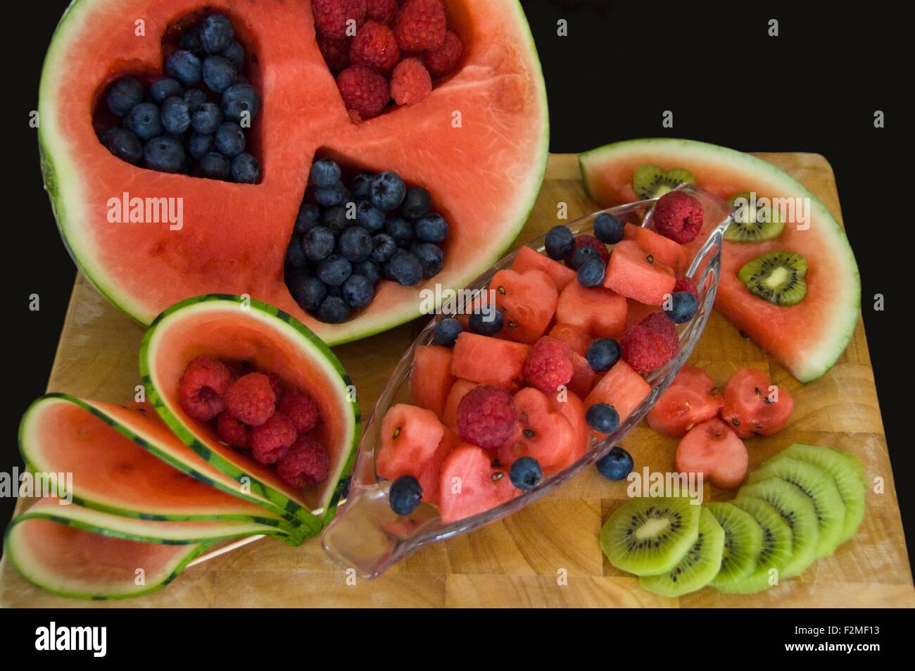 Horizontal Close Up Of A Fruit Salad Cut Into Various