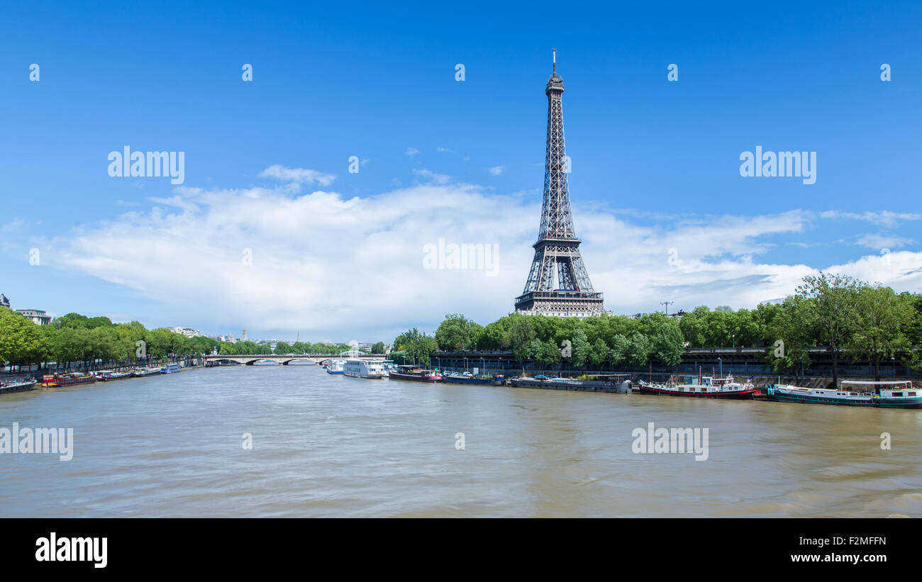 River Seine with the Eiffel Tower in the distance, Paris, France, Europe - Stock Image