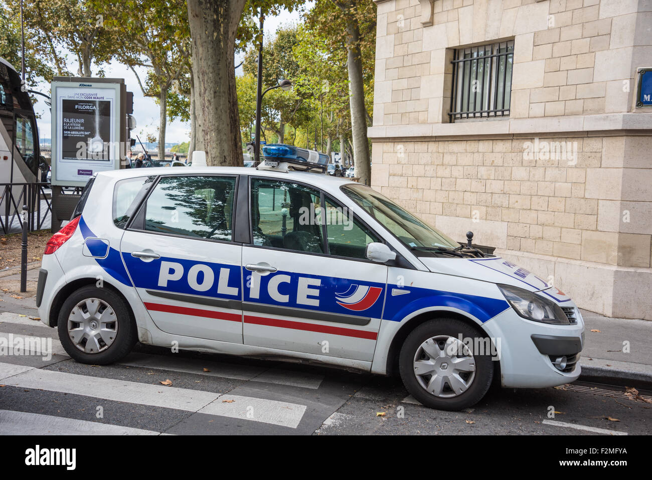 a french police car parked in a street in the european city of paris stock photo 87732718 alamy. Black Bedroom Furniture Sets. Home Design Ideas